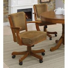 Benzara Cozy Upholstered Rolling Dining Arm Chair