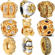 925 gold silver european sterling charms bead for bracelet chain necklace BK003