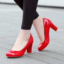 womens slip on Dress Court patent leather Round Toe Block high Heels Shoes pumps