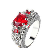 Fashion Women Silver Crystal Finger Ring Band Red Rhinestone Heart Rings New