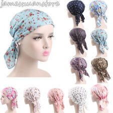 New Women Cotton Ruffle Print Cancer Chemo Hat Beanie Scarf Turban Head Wrap Cap