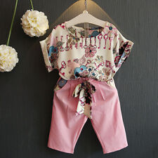 2PCS Toddler Kids Baby Girls Floral T-shirt Tops+Cropped Jeans Pants Outfits Set