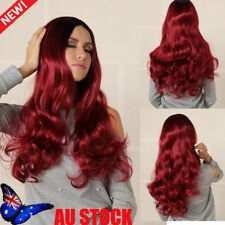 Women 28'' Long Wavy Curly Wine Red Hair Wigs Synthetic Cosplay Dress Party Wig