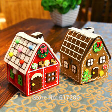 Free shipping! 6pcs/lot Gingerbread House Christmas house Felt Brown & Red House