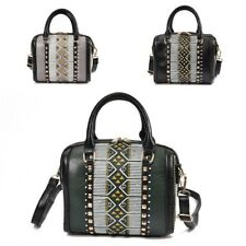 Women Retro Handbag PU Leather Rivet Studded Shoulder Bag Small European Tote