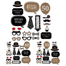 20pcs Happy Birthday Photo Booth Props Adult Party Decorations Supplies