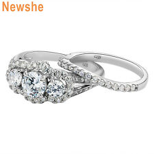 Newshe Wedding Engagement Ring Set 2Ct 925 Sterling Silver Round Cz Blue Sz 5-10