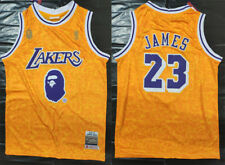 Men's Los Angeles Lakers #23 LeBron James Basketball jersey joint BAPE yellow