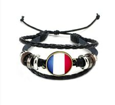 Unisex National Flags Charm Bracelet Faux Leather Rope Bangle Wristband Cuff