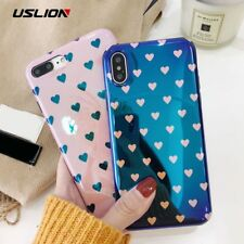 USLION Blu-ray Laser Gradient Case For iPhone X 8 Love Heart Phone Cases For