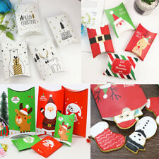 5-50pcs Christmas Party Paper Favour Pillow Boxes Candy Sweets Cookies Gift Bag