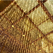 US Christmas LED Curtain String Lights Indoor Drop Party Garden Outdoor Decor BJ