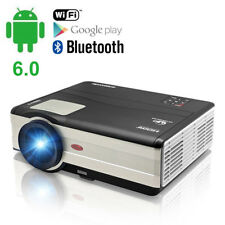 WLAN Smart Android 6.0 Bluetooth Home Theater Projector HDMI HD 1080P WIFI Movie