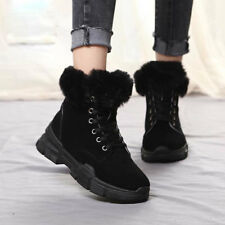 Winter Women Suede Warm Fur Lined Martin Boots Plush Furry Ankle Outdoor Shoes