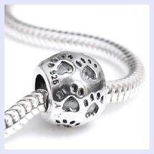 925 Sterling Silver Paw Dog Puppy Footprint Pet Bead for European Charm Bracelet