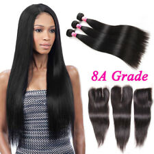 Thick 8A Brazilian Straight Virgin Hair 3 Bundles 300g With 4''*4'' Lace Closure