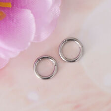 1 Pair Stainless Steel Hinged Ring Hoop Sleeper Earrings Body Piercing 16G