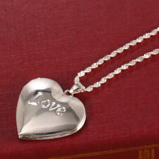 Women Fashion 925 Silver Love Heart Pendant Necklace Chain Jewelry Wedding Gift