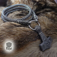 Viking Necklace Thors Hammer Thor's Mjöllnir wolves ravens bear Viking Pendant