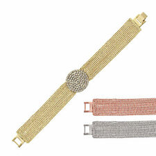 14K Gold, Rose Gold, or Rhodium Plated Crystal Medalion Beaded Chain Bracelet