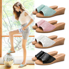 Women Casual Slippers Ladies Hollow-Out Mid Wedge Shoes Slip On Open Toe Sandals