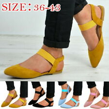 Womens Ankle Strap Shoes Ballet Flats Buckle Summer Pointed Toe Strappy Sandals
