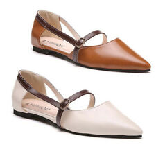 Womens Pointed Toe Buckle Strappy Casual Flats Ladies Grace Slip On Office Shoes