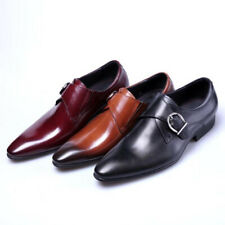 Mens Business Leather Shoes Dress Wedding Flats Belt Buckle Pointed Toe Casual