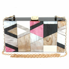LETODE Geometric design of elegant female color acrylic clutches gold chain bag