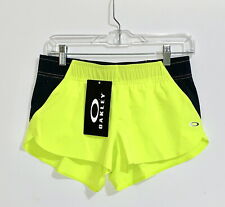 Oakley Elevate Laser Neon Yellow Black Women Active Sport Shorts NWT