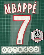 2019-2020 PSG home MBAPPE #7 name number SET + Ligue 1 champion PATCH + OOREDOO