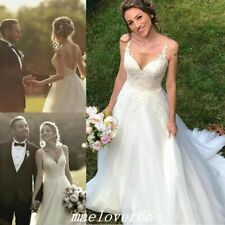 White/Ivory Boho Lace Tulle Bridal Gowns Spaghetti Country Beach Wedding Dresses