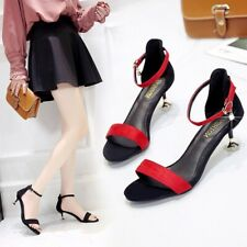 Summer Women Ankle Strap Kitten Heel Sandals Ladies Open Toe Casual Office Shoes