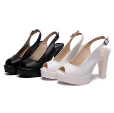 Women High Heel Wedge Work Dress Shoes Lady Platform Ankle Buckle Boots Open Toe