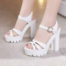 Women Wedge High Heel Platform Sandals Ankle Strap Party Evening Shoes Plus Size