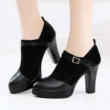 Womens Ladies Platform Buckle High Heels Boots Pointed Toe Slip On Wedge Shoes