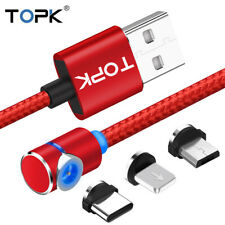 Magnetic Charging Cable 90 Degree LED Cable RED&BLACK Type C, Micro USB, 8-Pin