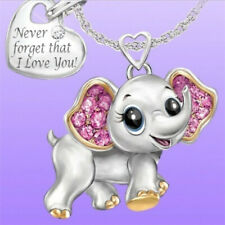 Cute 925 Silver Pink Sapphire Elephant Pendant Choker Necklace Chain Jewelry