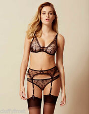AGENT PROVOCATEUR BLACK SUMMER BRA & SUSPENDER & BRIEF SET BNWT SIZE 2 S or 4 L