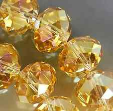 7x10mm Faceted Yellow Rainbow AB Crystal Beads 36pcs