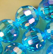 10mm Faceted Cyan Rainbow AB Crystal Round Beads 45pcs