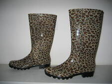 "WOMEN LEOPARD-DESIGN RAIN BOOTS NON SKID SOLE 14""NEW"