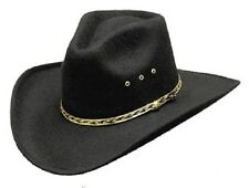 NEW! Black Faux Felt Cowboy Hat Pinch Front (S/M L/XL Kids)