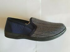 Navy Check Mens Textile Twin Gusset Slippers UK6-16