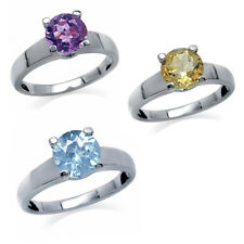 Amethyst Citrine Topaz  Sterling Silver Solitaire Ring