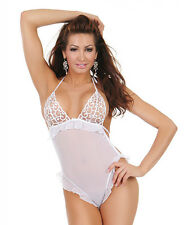 Sheer blanc dos nu haut coupe jambe à volants TEDDY corps costume lingerie sexy p80649