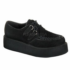 "DEMONIA CREEPER-402S Punk Gothic Mens Suede 2"" Platform Black Goth Creeper Shoes"