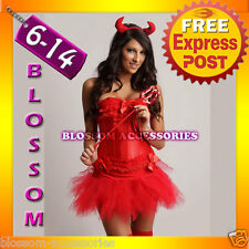 BAR1 Red Corset Tutu Skirt Devil Halloween Costume S-XL