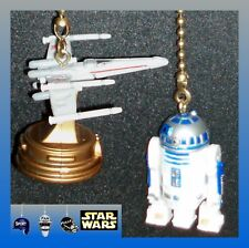 STAR WARS X-WING FIGHTER & CHOICE OF R2D2 OR C3PO FIGURE CEILING FAN PULLS
