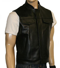 'Anarchy' Outlaw Motorcycle Waistcoat Leather Black